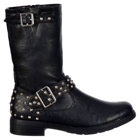 biker ankle boots shoekandi biker studded ankle boot black studded heel
