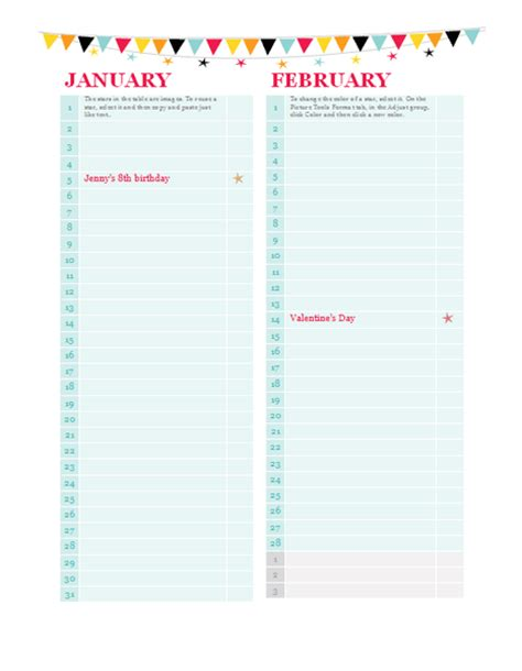 Birthday And Anniversary Calendar Template by Birthday And Anniversary Calendar Any Year Calendars