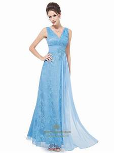 flowy light blue lace v neck full length prom dress with With robe de soirée a petit prix