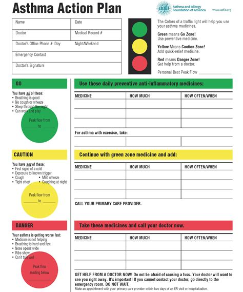 10 Ways To Help Your Child Manage Asthma Stay At Home My Asthma Plan Template