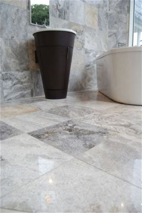 Pewter Travertine Polished and Filled Floor Tile   Best