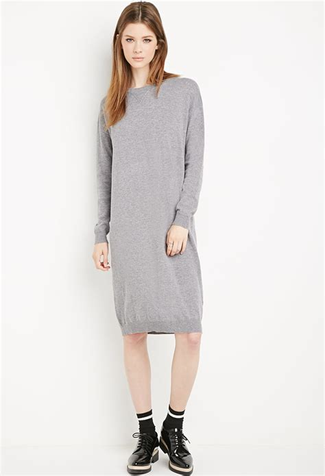 gray sweater dress forever 21 heathered sweater dress in gray lyst