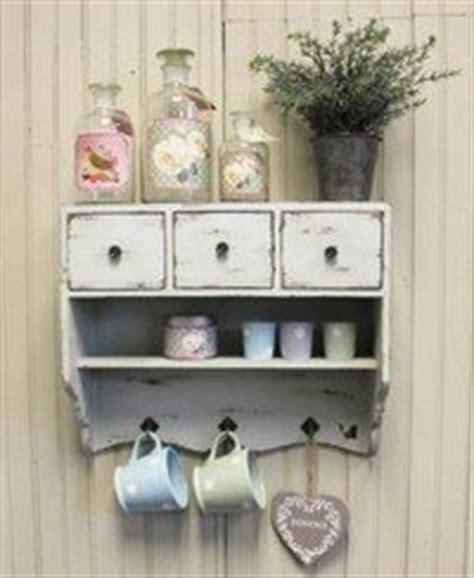 shabby chic wooden vintage white wall unit cupboard rack  drawers shelf hooks