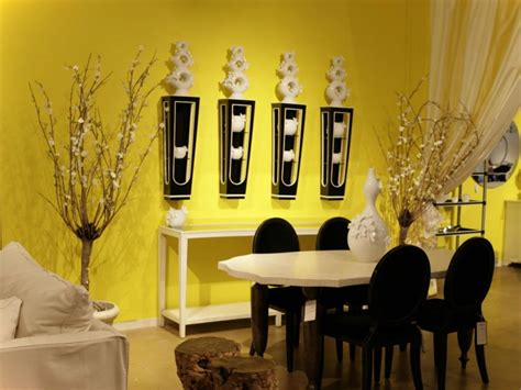 yellow wall paint  dining room  ideas