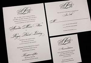 formal black monogram and fancy script wedding invitations With wedding invitation etiquette lawyer