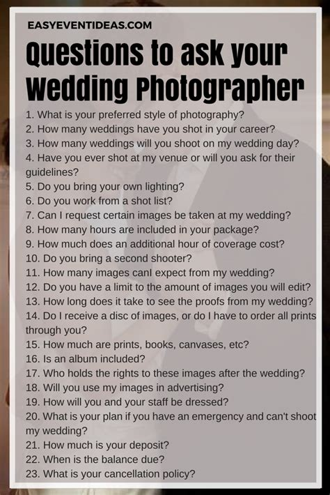 What To Ask Your Wedding Photographer  Easy Event Ideas