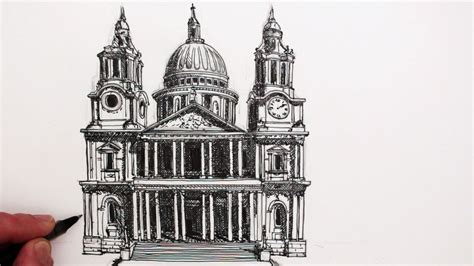 draw famous buildings st pauls cathedral london