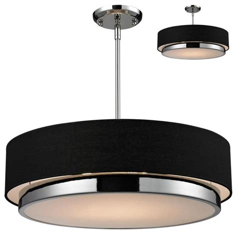 three light chrome black shade drum shade pendant