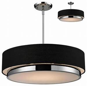 Three light chrome black shade drum pendant
