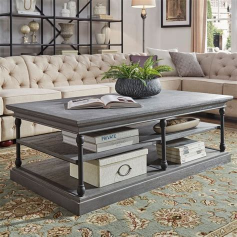 This original gray painted coffee table is a great find for someone looking to maximize a small space. Weston Home Cabana Rectangular Storage Shelf Coffee Table, Frost Grey - Walmart.com - Walmart.com