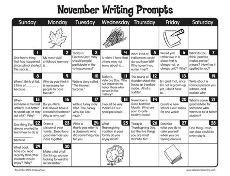 november writing prompts from lakeshore learning writing practice editor