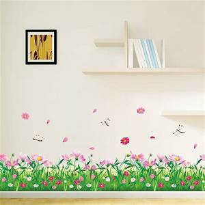 diy wall stickers home decor nature colorful flowers grass With stickers muraux design decoration