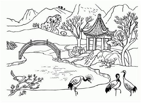 mewarnai gambar pemandangan sungai sketsa gambar flora
