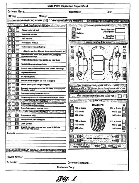 multi point inspection report card as recommended by ford motor company 6 vehicle inspection
