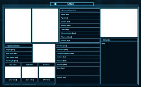 Character Sheet Template Swtor Character Sheet Template By Isriana On Deviantart
