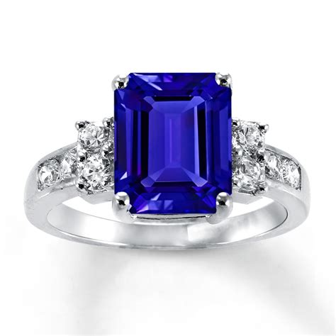 lab created sapphires blue white ring sterling silver  kay