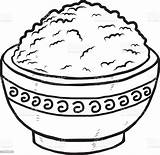Rice Bowl Clipart Vector Drawing Clip Food Illustration Cliparts Carbohydrate Type sketch template