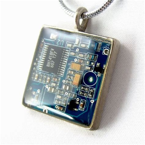 Computer Chip Circuit Board Necklace Blue Square