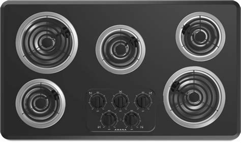amana electric cooktop 36 inch knobs elements pan ajmadison front heating