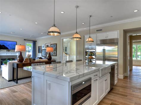 white open kitchen open concept kitchen enhancing spacious room nuance 276 | Alarming Interior Design of Open Concept Kitchen with White Cabinet also Chic Chandelier