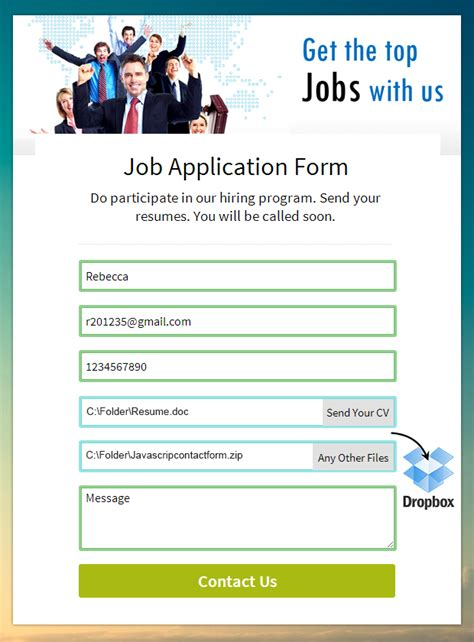dropbox resume form dropbox uploader in formget formget