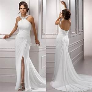 aliexpresscom buy sparkle beading halter white chiffon With halter beach wedding dresses