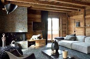 modern chalet interior design cosy neve design With deco style chalet moderne