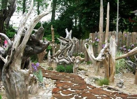 impressive stumpery garden decorations creative  natural landscaping ideas