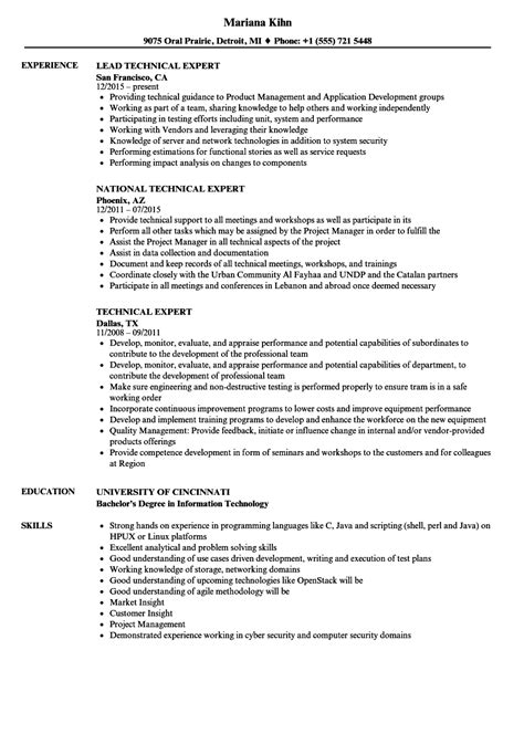 Resume Experts by Technical Expert Resume Sles Velvet