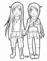 Chibi Twins Valentine Lineart Deviantart Mila sketch template