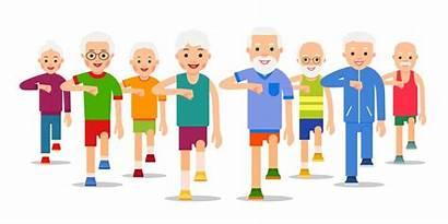 Older Active Crowd Ex Exercise Adult Walking