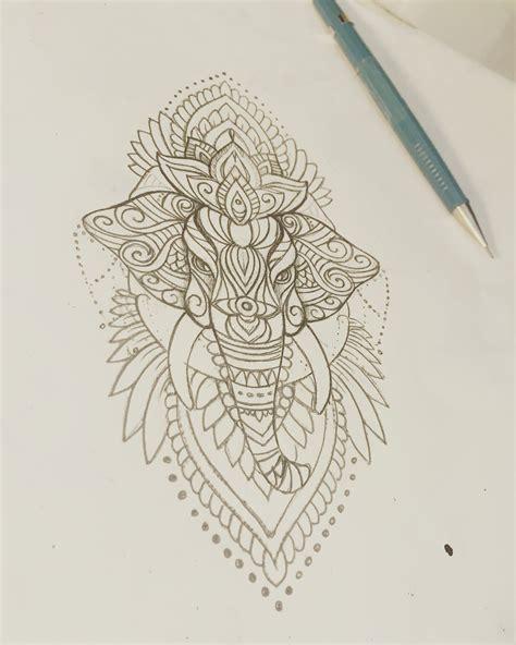 elephant mehndi tattoo sketch mandala tattoo ganes