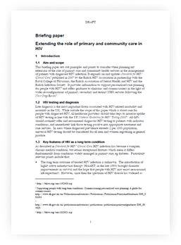 briefing paper  extending  role  primary  community care  hiv