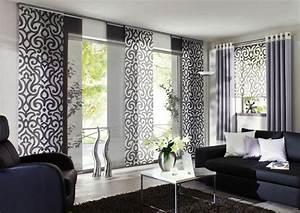 Kurze Vorhänge Für Wohnzimmer : schiebegardine ornamental von unland bild 12 sch ner wohnen ~ Markanthonyermac.com Haus und Dekorationen