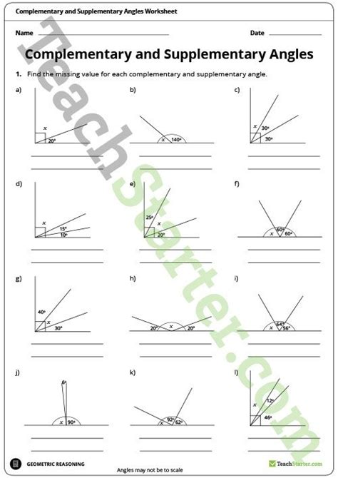 complementary and supplementary angles worksheet teaching
