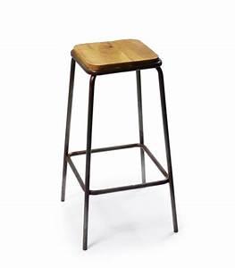 Tabouret Bar Bois : tabouret de bar carr en m tal noir et bois ~ Teatrodelosmanantiales.com Idées de Décoration