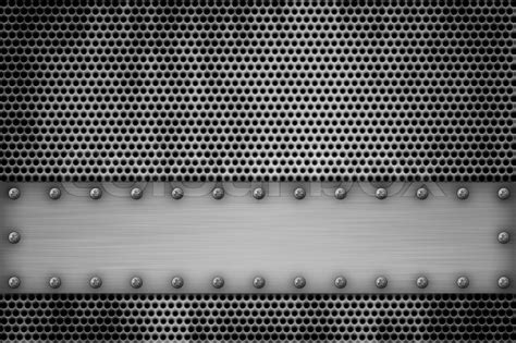 sheet metal shop grill pattern riveted to brushed steel background stock