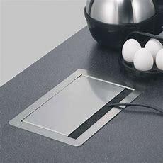 Versenkte Energiebox Edelstahl,4 Steckdosen Küchenline