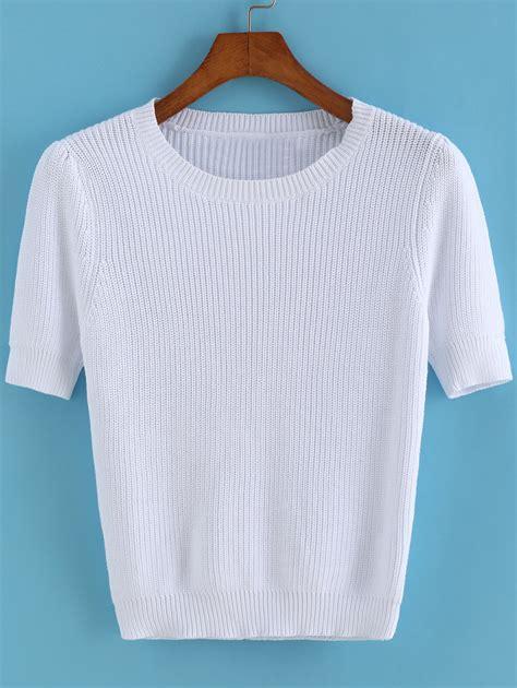 sweater shorts sleeve knit white sweater
