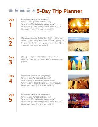 trip scheduler templates 5 day trip planner