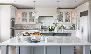 double islands transitional kitchen casa verde design With kitchen colors with white cabinets with large metal flip flop wall art