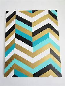 Chevron art painting 16x20 gold teal turquoise black and for Chevron template for painting