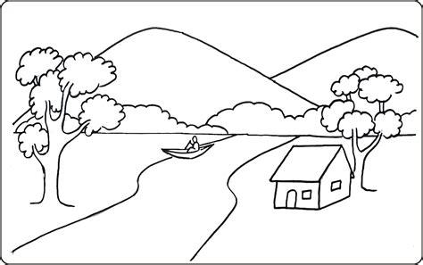 gunung dengan aliran sungai yang melewati rumah penduduk