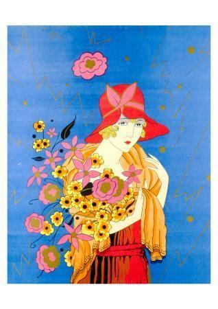 art deco lady  flowers posters  allposterscom