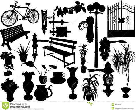 silhouettes  objects stock vector illustration