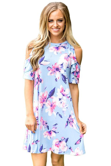 light blue floral dress us 6 21 ruffled cold shoulder light blue floral dress