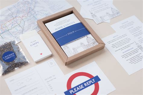 london themed wedding stationery with boxed invitations uk