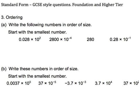 Standard Form Gcse Five Sides Of Questions Adapted From Gcse Papers For Easy Use In The
