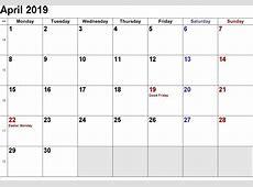 April 2019 Calendar Editable April 2018 Calendar