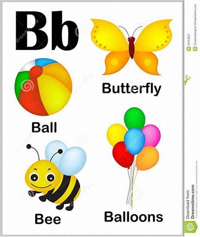 Letter Alphabet Words Printable Colorful Illustrations Sheet